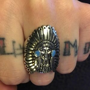 Vintage silver Indian Chief biker ring 10 90s